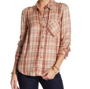 Free People Joplin Button Up Flannel Size Medium